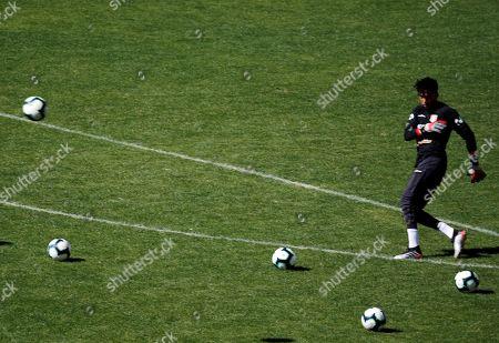 Peruvian goalkeeper Carlos Caceda participates in a training, in Sao Paulo, Brazil, 24 June 2019.