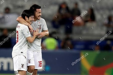 Shoya Nakajima (L) of Japan celebrates a goal with teammate Shinji Okazaki (R) during the Copa America 2019 Group C soccer match between Ecuador and Japan, at Mineirao Stadium in Belo Horizonte, Brazil, 24 June 2019.