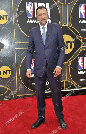 Stock Photo of Vlade Divac, general manager of the Sacramento Kings, arrives at the NBA Awards, at the Barker Hangar in Santa Monica, Calif