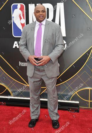Charles Barkley arrives at the NBA Awards, at the Barker Hangar in Santa Monica, Calif