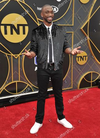 Jay Pharoah arrives at the NBA Awards, at the Barker Hangar in Santa Monica, Calif
