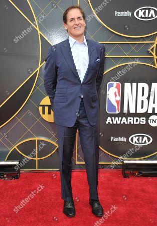 Mark Cuban, governor of the NBA's Dallas Mavericks, arrives at the NBA Awards, at the Barker Hangar in Santa Monica, Calif