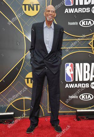 Kareem Abdul Jabbar arrives at the NBA Awards, at the Barker Hangar in Santa Monica, Calif
