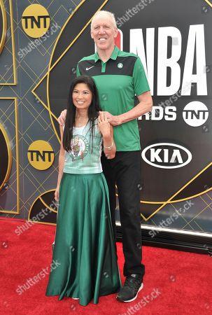 Bill Walton, Lori Matsuoka. Bill Walton, right, and Lori Matsuoka arrive at the NBA Awards, at the Barker Hangar in Santa Monica, Calif