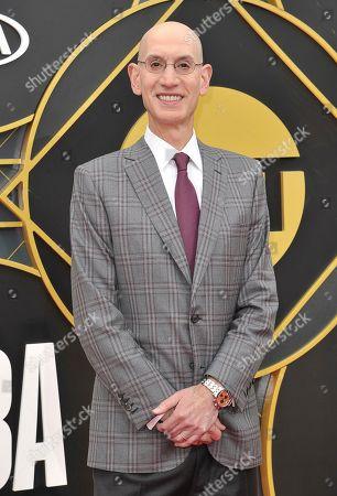 NBA Commissioner Adam Silver arrives at the NBA Awards, at the Barker Hangar in Santa Monica, Calif