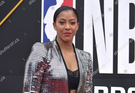 WNBA player Candace Parker, of the Los Angeles Sparks, arrives at the NBA Awards, at the Barker Hangar in Santa Monica, Calif