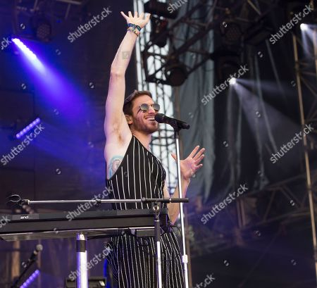 Nicholas Petricca of the band Walk the Moon performs on Day 3 of the 2019 Firefly Music Festival at The Woodlands, in Dover, Del
