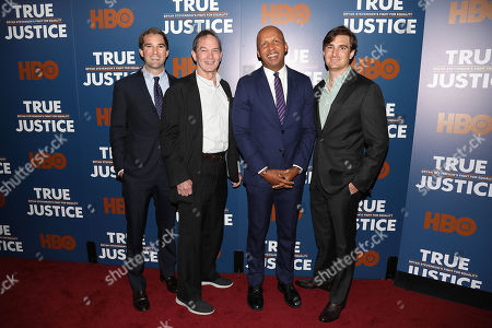 Stock Photo of George Kunhardt (Co-Director, Prod), Peter Kunhardt (Co-Director, Exec. Prod), Bryan Stevenson (Exec. Dir; Equal Justice Initiative) and Teddy Kunhardt (Co-Director, Prod)