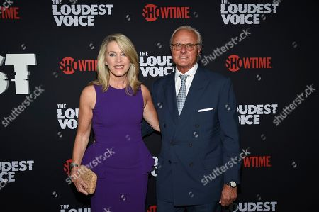 """Deborah Norville, Karl Wellner. Deborah Norville, left, and husband Karl Wellner attend the premiere of the ShowTime limited series """"The Loudest Voice"""" at the Paris Theatre, in New York"""