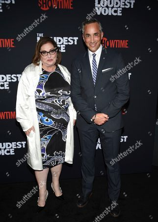 """Marci Wiseman, Jeremy Gold. Executive producers Marci Wiseman, left, and Jeremy Gold attend the premiere of the ShowTime limited series """"The Loudest Voice"""" at the Paris Theatre, in New York"""