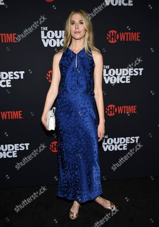 """Stock Photo of Lucy Owen attends the premiere of the ShowTime limited series """"The Loudest Voice"""" at the Paris Theatre, in New York"""