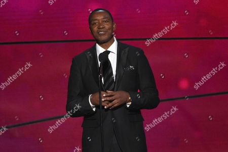 Isiah Thomas speaks at the NBA Awards, at the Barker Hangar in Santa Monica, Calif