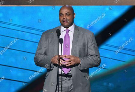 Charles Barkley speaks at the NBA Awards, at the Barker Hangar in Santa Monica, Calif