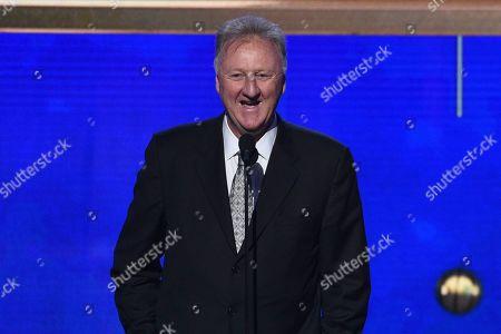Larry Bird accepts the lifetime achievement award at the NBA Awards, at the Barker Hangar in Santa Monica, Calif