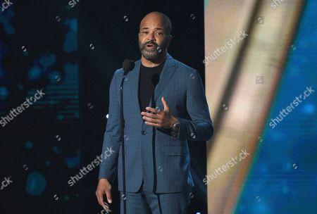 Jeffrey Wright speaks at the NBA Awards, at the Barker Hangar in Santa Monica, Calif