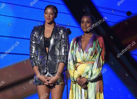 Candace Parker, Issa Rae. Candace Parker, left, and Issa Rae present the Sager strong award at the NBA Awards, at the Barker Hangar in Santa Monica, Calif