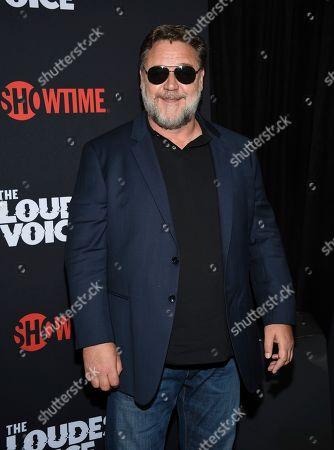 """Russell Crowe attends the premiere of the ShowTime limited series """"The Loudest Voice,"""" at the Paris Theatre, in New York"""