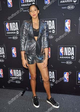 Stock Picture of WNBA player Candace Parker, of the Los Angeles Sparks, poses in the press room at the NBA Awards, at the Barker Hangar in Santa Monica, Calif