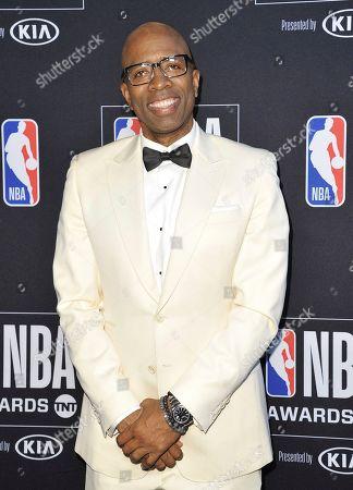 Kenny Smith poses in the press room at the NBA Awards, at the Barker Hangar in Santa Monica, Calif