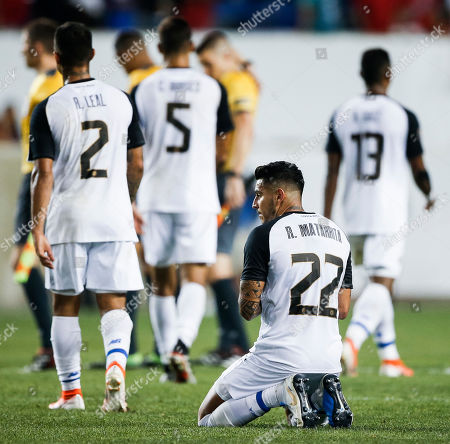 Members of Costa Rica's team including Ronald Matarrita (2-R) leave the field after losing to Haiti in their CONCACAF Gold Cup group stage soccer match between Haiti and Costa Rica at Red Bull Stadium in Harrison, New Jersey, USA, 24 June 2019.