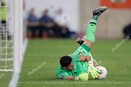 Stock Picture of Costa Rica goalkeeper Leonel Moreira makes a save against Haiti during the first half of a CONCACAF Gold Cup soccer match, in Harrison, N.J