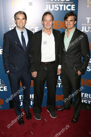 """George Kunhardt, Peter Kunhardt, Teddy Kunhardt. Directors George Kunhardt, left, Peter Kunhardt and Teddy Kunhardt attend a special screening of """"True Justice: Bryan Stevenson's Fight for Equality"""" at the SVA Theatre, in New York"""