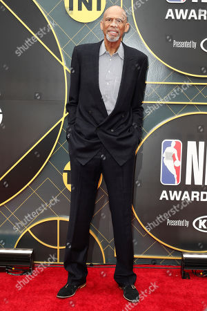 Former US basketball player Kareem Abdul-Jabbar poses for photographers upon his arrival for the 2019 NBA Awards at Barker Hangar in Santa Monica, California, USA, 24 June 2019. The 2019 NBA Awards will be the 3rd annual awards show by the National Basketball Association (NBA).