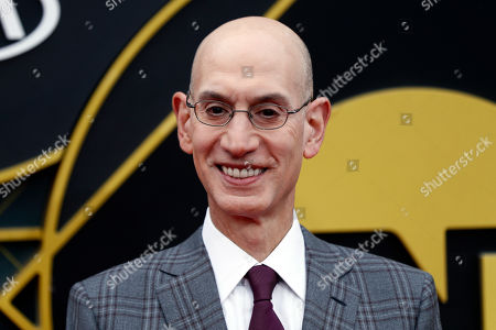 Commissioner of the NBA Adam Silver poses for the photographers upon his arrival for the 2019 NBA Awards at Barker Hangar in Santa Monica, California, USA, 24 June 2019 (issued 25 June 2019). The 2019 NBA Awards will be the 3rd annual awards show by the National Basketball Association (NBA).