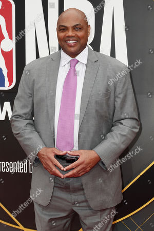 Former US basketball player Charles Barkley poses photographers upon his arrival for the 2019 NBA Awards at Barker Hangar in Santa Monica, California, USA, 24 June 2019. The 2019 NBA Awards will be the 3rd annual awards show by the National Basketball Association (NBA).