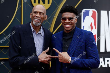 Greek basketball player Giannis Antetokounmpo (R) and former US basketball player Kareem Abdul-Jabbar (L) pose for photographers upon their arrival for the 2019 NBA Awards at Barker Hangar in Santa Monica, California, USA, 24 June 2019. The 2019 NBA Awards will be the 3rd annual awards show by the National Basketball Association (NBA).