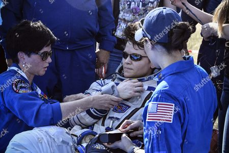 NASA astronaut Anne McClain undergoes a medical check shortly after landing in a remote area outside the town of Dzhezkazgan (Zhezkazgan), Kazakhstan, 25 June  2019.  The Soyuz MS-11 capsule with the International Space Station (ISS) crew of NASA astronaut Anne McClain, Russian cosmonaut Oleg Kononenko and David Saint-Jacques of the Canadian Space Agency on board landed safly in the Kazakh steppe on 25 June 2019.