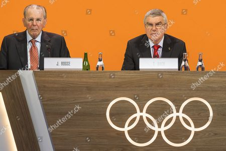 Stock Picture of Former International Olympic Committee (IOC) president Jacques Rogge (L) and current IOC president Thomas Bach (R) of Germany attend the 134th Session of the IOC at the SwissTech Convention Centre in Lausanne, Switzerland, 25 June 2019.