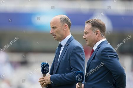 Nasser Hussain, Michale Slater presenting for the broadcasters during England vs Australia, ICC World Cup Cricket at Lord's Cricket Ground on 25th June 2019