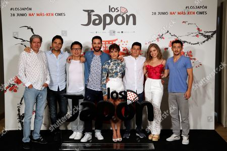 Spanish film director Alvaro Diaz Lorenzo (2-L) poses with actors Antonio Dechent (L), Ryo Matsumoto (3-L), Dani Rovira (4-L), and Maria Leon (4-R), amongst others during the presentation of the film 'Los Japon' (lit. The Japan) in Madrid, Spain, 25 June 2019. The film is a comedy based in a true story about a Japanese expedition that disembarked four centuries ago in the town of Cora del Rio in Seville, Spain, to settle there where descendants still live.