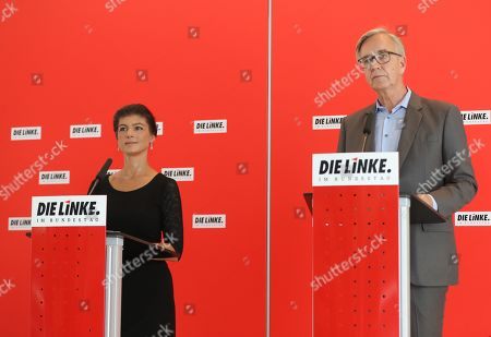 The Left party (Die Linke) faction co-chairwoman in the German parliament Bundestag Sahra Wagenknecht (L) and co-chairman of German The Left party Dietmar Bartsch (R) speak to the media at the German parliament Bundestag in Berlin, Germany, 25 June 2019.
