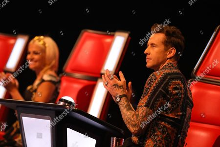 Stock Photo of All the coaches turn for Jazzy B, she chooses Team Jessie, with Pixie Lott and Danny Jones.