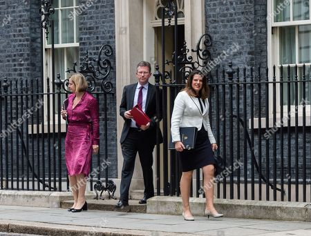 Amber Rudd, Secretary of State for Work and Pensions, Jeremy Wright, Secretary of State for Digital, Culture, Media and Sport and Caroline Nokes Minister of State for Immigration leave 10 Downing Street after the weekly Cabinet meeting