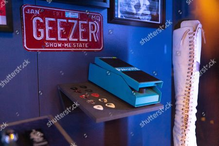 Shrine to Geezer Butler, showing personal effects and memorabilia