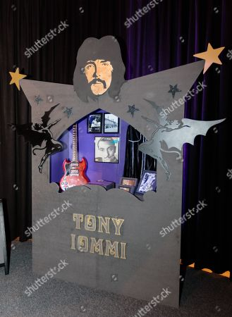 Shrine to Tony Iommi, showing personal effects and memorabilia