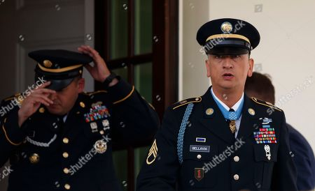 Medal of Honor recipient Army Staff Sgt. David Bellavia arrives to speak to media outside the West Wing of the White House in Washington, after receiving the Medal of Honor from President Donald Trump for conspicuous gallantry while serving in support of Operation Phantom Fury in Fallujah, Iraq