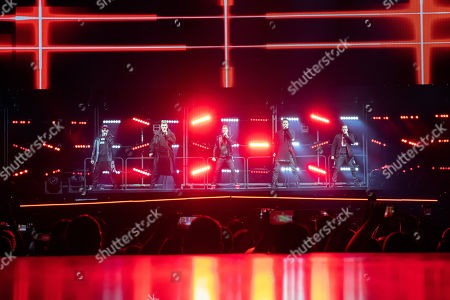 A.J. McLean, Nick Carter, Brian Littrell, Kevin Richardson and Howie Dorough of the US vocal group Backstreet Boys perform during their concert at the Papp Laszlo Budapest Sports Arena in Budapest, Hungary, 25 June 2019.