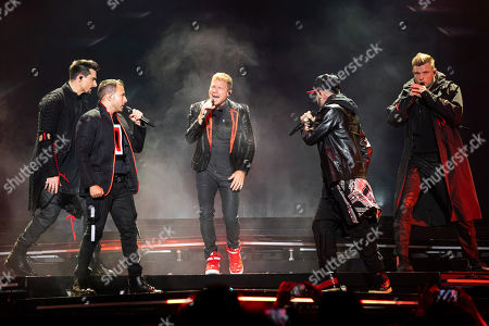 Kevin Richardson, Howie Dorough, Brian Littrell, A.J. McLean and Nick Carter of the US vocal group Backstreet Boys perform during their concert at the Papp Laszlo Budapest Sports Arena in Budapest, Hungary, 25 June 2019.
