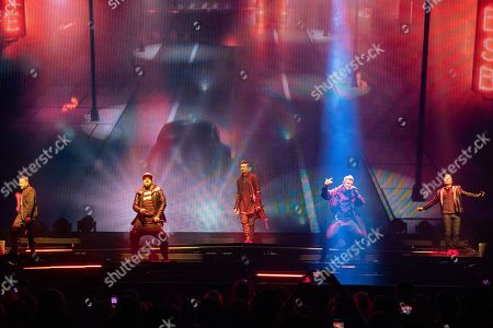 Howie Dorough, A.J. McLean, Kevin Richardson, Nick Carter and Brian Littrell of the US vocal group Backstreet Boys perform during their concert at the Papp Laszlo Budapest Sports Arena in Budapest, Hungary, 25 June 2019.