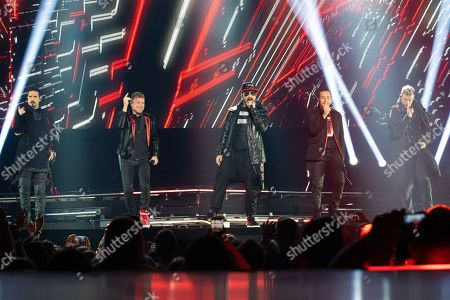 Kevin Richardson, Brian Littrell, A.J. McLean, Howie Dorough and Nick Carter of the US vocal group Backstreet Boys perform during their concert at the Papp Laszlo Budapest Sports Arena in Budapest, Hungary, 25 June 2019.