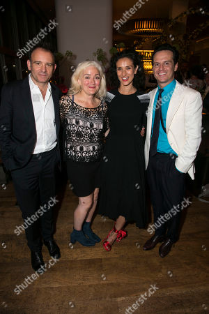 Matthew Warchus (Director), Sophie Thompson (Monica Reed), Indira Varma (Liz Essendine) and Andrew Scott (Garry Essendine)