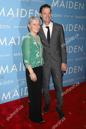 """Tracy Edwards, Alex Holmes. Tracy Edwards, skipper of the Maiden, left, and director Alex Holmes attend the premiere of Sony Pictures Classics' """"Maiden"""" at Landmark 57, in New York"""