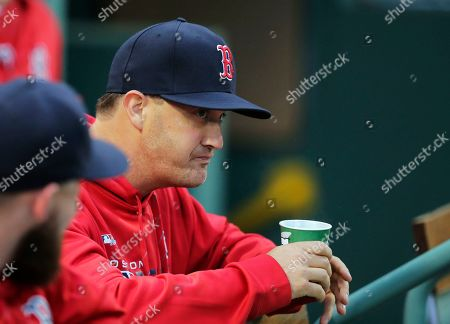 Boston Red Sox pitcher Steven Wright takes a drink while waiting in the dugout prior to a baseball game against the Chicago White Sox at Fenway Park in Boston, . The Boston Red Sox reinstated Wright from the restricted list following an 80-game suspension for a positive performance-enhancing substance test