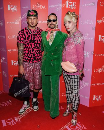 Charly Defrancesco, from left, Marc Jacobs, and Richie Rich attend the Love Ball III HIV/AIDS benefit, hosted by The Council of Fashion Designers of America (CFDA) and Susanne Bartsch, at Gotham Hall, in New York