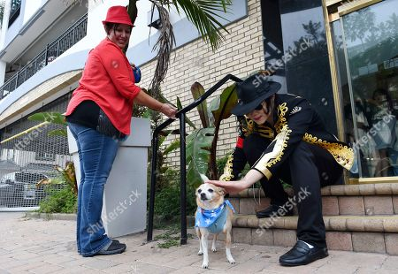 """Wang Jingyuan, Marissa Russo. Michael Jackson impersonator Wang Jingyuan, right, of China, pets Marissa Russo's dog as they wait for the """"MJ Innocent LOVE March & Rally"""" to start, in Los Angeles. Tuesday marked the 10th anniversary of Jackson's death"""