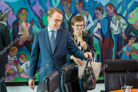 German Bundesbank President Jens Weidmann (L) and German Bundesbank vice president Claudia Maria Buch (R), during a cabinet meeting at the Chancellery in Berlin, Germany, 26 June 2019.
